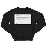 Cher me thinks doth protest too much tweet on a black crewneck sweater from Tee Tweets