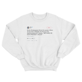 Cher me thinks doth protest too much tweet on a white crewneck sweater from Tee Tweets