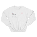 Cher Wu Tang Cher Clan tweet on a white crewneck sweater from Tee Tweets