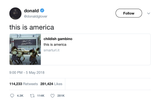 Donald Glover this is America tweet from Tee Tweets