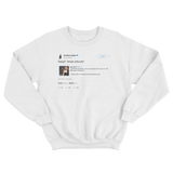 Chrissy Teigen Rihanna Cardi B threesome lyrics tweet on a white crewneck sweater from Tee Tweets