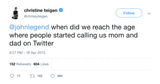 Chrissy Teigen John Legend mom and dad on Twitter tweet from Tee Tweets