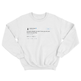 Chrissy Teigen we don't love you at your this or that tweet white crewneck sweater from Tee Tweets