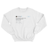 Conor McGregor thanks for the cheese retirement tweet on a white crewneck sweater from Tee Tweets