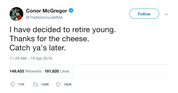 Conor McGregor thanks for the cheese retirement tweet from Tee Tweets