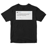 Daniel Tosh encouraging followers to unregister to vote tweet on a black t-shirt from Tee Tweets