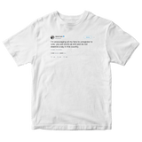 Daniel Tosh encouraging followers to unregister to vote tweet on a white t-shirt from Tee Tweets