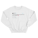 Daniel Tosh viciously headbut I'm keeping it 100 tweet on a white crewneck sweater from Tee Tweets