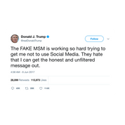 Donald Trump tweet about the mainstream media from Tee Tweets