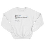 Donald Trump wishing everyone a very happy holiday season white tweet sweater