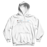 Donald Trump wishing everyone a happy holidays tweet on a white hoodie from Tee Tweets