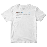 Donald Trump wishing everyone a happy holidays tweet on a white t-shirt from Tee Tweets