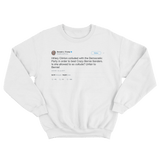 Donald Trump Hillary Clinton beat Crazy Bernie tweet on a white crewneck sweater from Tee Tweets