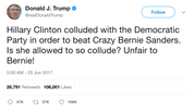 Donald Trump Hillary Clinton beat Crazy Bernie tweet
