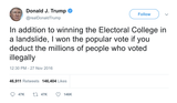 Donald Trump won the popular vote deducting illegal voting tweet from Tee Tweets