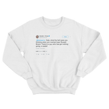 Donald Trump Katy Perry marrying Russell Brand tweet on a white crewneck sweater from Tee Tweets