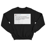Donald Trump proud to say Merry Christmas again tweet on a black crewneck sweater from Tee Tweets