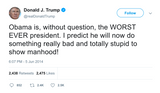 Donald Trump tweet calling Obama the worst president ever from Tee Tweets