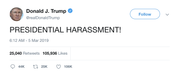 Donald Trump presidential harrassment tweet from Tee Tweets