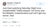 Donald-Trump-just-tried-watching-saturday-night-live-unwatchable-not-funny-and-baldwin-impersonation-cant-get-any-worse-sad-tweet-tee-tweets