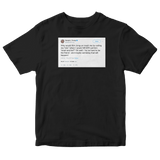 Donald Trump calling Kim Jong-Un short and fat tweet on a black t-shirt from Tee Tweets