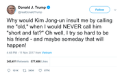 Donald Trump calling Kim Jong-Un short and fat tweet from Tee Tweets