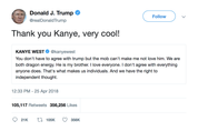 Donald Trump thank you Kanye very cool tweet from Tee Tweets