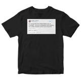 Donald Trump the United States has no president tweet on a black t-shirt from Tee Tweets
