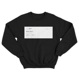 Drake scary hours tweet on a black crewneck sweater from Tee Tweets