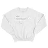 Drake try something new tweet on a white crewneck sweater from Tee Tweets