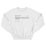 Draymond Green Andre Iguodala jacking the game off tweet on a white crewneck sweater from Tee Tweets