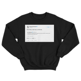Edward Snowden they call me a criminal tweet on a black crewneck sweater from Tee Tweets