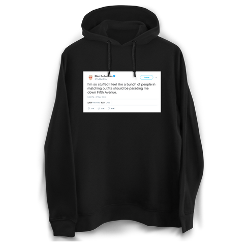 Ellen DeGeneres Thanksgiving parading down Fifth Ave tweet on a black hoodie from Tee Tweets