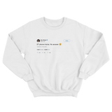 Elon Musk ET phone home no answer tweet on a white crewneck sweater from Tee Tweets
