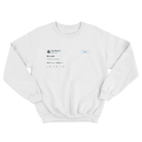 Elon Musk tbh smh tweet on a white crewenck sweater from Tee Tweets