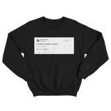 Elon Musk time to create a mecha tweet on a black crewneck sweater from Tee Tweets
