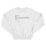 Greg Olear teach Trump how to say Niger tweet on a white crewneck sweater from Tee Tweets