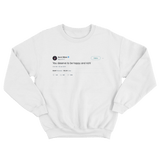 Gucci Mane you deserve to be happy and rich tweet on a white crewneck sweater from Tee Tweets