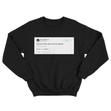 Harry Styles scared of the dark and the dentist tweet on a black crewneck sweater from Tee Tweets