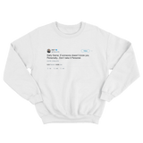 Ice T don't take it personal tweet on a white crewneck sweater from Tee Tweets