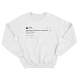 Ice T everybody on Twitter have a great day tweet on a white crewneck sweater from Tee Tweets