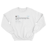 Ice T never eaten a bagel tweet on a white crewneck sweater from Tee Tweets