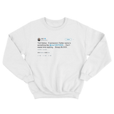 Ice T blocking the trolls on Twitter tweet on a white crewneck sweater from Tee Tweets