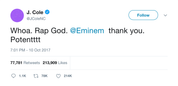 J Cole rap god Eminem tweet from Tee Tweets