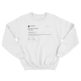 JK Rowling they see me rolling they hating tweet on a white crewneck sweater from Tee Tweets