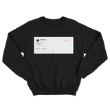 JR Smith Cavs in 7 deleted tweet on a black crewneck sweatshirt from Tee Tweets