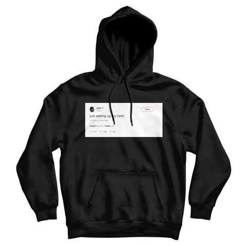 Jack Dorsey just setting up my Twitter tweet on a black hoodie from Tee Tweets