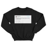 Jaden Smith crying from peeing tweet on a black crewneck sweater from Tee Tweets
