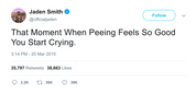 Jaden Smith crying from peeing tweet from Tee Tweets