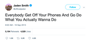 Jaden Smith get off your phones tweet from Tee Tweets